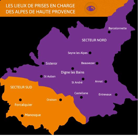 Les lieux de prises en charge des Alpes de Haute Provence